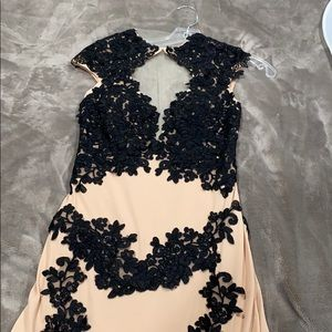 Jovani Beige and Black Lace Gown